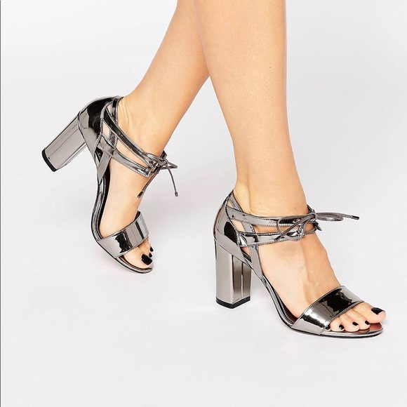 659f3a18c3c Dune London Wide Fit Morocco Pewter Block Heeled